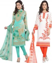 Elegant Crepe Designer Printed Pack of Two Unstitched Dress Material Suit(Code-COMBO27)