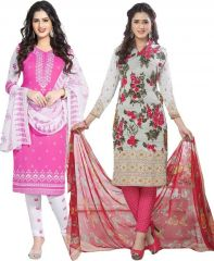 Elegant Crepe Designer Printed Pack of Two Unstitched Dress Material Suit.(Code-COMBO33)