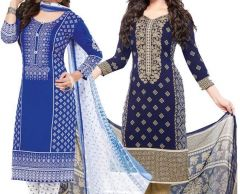 Elegant Crepe Designer Printed Pack of Two Unstitched Dress Material Suit.(Code-COMBO34)