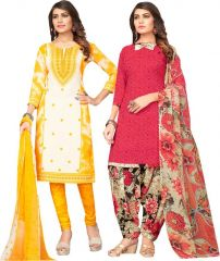 Elegant Crepe Designer Printed Pack of Two Unstitched Dress Material Suit.(Code-COMBO35)