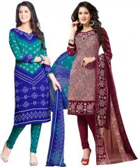 Elegant Crepe Designer Printed Pack of Two Unstitched Dress Material Suit.(Code-COMBO37)