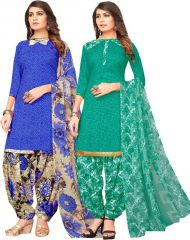 Elegant Crepe Designer Printed Pack of Two Unstitched Dress Material Suit.(Code-COMBO38)