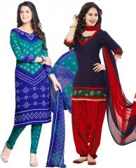 Elegant Crepe Designer Printed Pack of Two Unstitched Dress Material Suit.(Code-COMBO40)