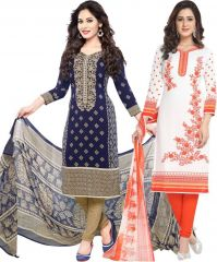 Elegant Crepe Designer Printed Pack of Two Unstitched Dress Material Suit.(Code-COMBO41)