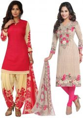Elegant Crepe Designer Printed Pack of Two Unstitched Dress Material Suit(Code-COMBO43)