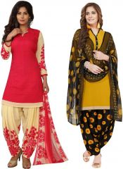 Elegant Crepe Designer Printed Pack of Two Unstitched Dress Material Suit.(Code-COMBO45)