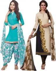 Elegant Crepe Designer Printed Pack of Two Unstitched Dress Material Suit.(Code-COMBO47)