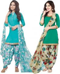 Elegant Crepe Designer Printed Pack of Two Unstitched Dress Material Suit.(Code-COMBO50)