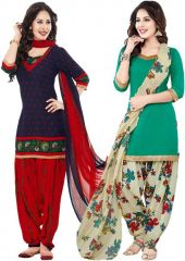 Elegant Crepe Designer Printed  Pack of Two Unstitched Dress Material Suit(Code-COMBO7)