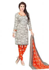 Nazaquat Beige Printed Crepe Unstitched Dress Material Po10009