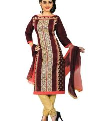 Radiant Cotton Embroidered Salwar Suit Dress Material with Chiffon Dupatta (Code-NK1089)
