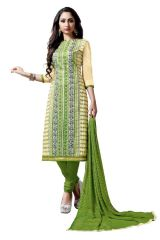 Radiant Cotton Embroidered Salwar Suit Dress Material with Chiffon Dupatta (Code-NKT1238)