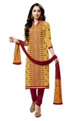 Radiant Cotton Embroidered Salwar Suit Dress Material with Chiffon Dupatta (Code-NKT1242)