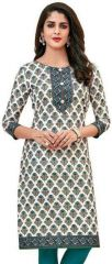 Elegant Cotton Multi Colour Printed Kurti Material (code- PR435)