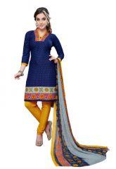 Nazaquat Blue Printed Crepe Unstitched Dress Material L5079