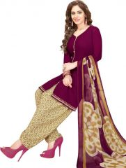 Elegant Crepe Designer Printed Unstitched Dress Material With Chiffon Dupatta (Code-VM2470)