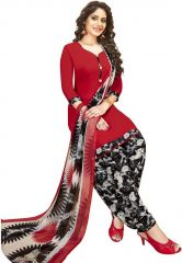 Elegant Crepe Designer Printed Unstitched Dress Material With Chiffon Dupatta (Code-VM2471)