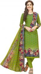 Elegant Crepe Designer Printed Unstitched Dress Material With Chiffon Dupatta (Code-VM2479)
