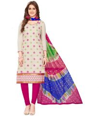 Radiant Cotton Embroidered Salwar Suit Dress Material with Chiffon Dupatta (Code-VP1156)