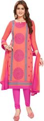 Radiant Cotton Embroidered Salwar Suit Dress Material with Chiffon Dupatta (Code-VP1159)