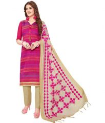 Radiant Cotton Embroidered Salwar Suit Dress Material with Chiffon Dupatta (Code-VP1172)