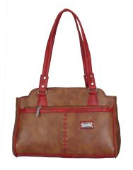 Right Choice Red And Tan Color Handbag