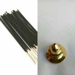 Zed Black Guggal Incense Stick Set Of 3 Zipper With Brass Agarbatti Stand