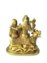 Brass Shiv Parivar / Decorative Golden Shiv Parvati Ganesh Kartikeya With Nandi Statue