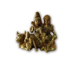 Decorative Brass Shiv Parvati Ganesh Kartikeya With Nandi Statue / Brass Shiv Parivar