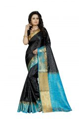 Nirja Creation Black Color Banarasi Cotton Fancy Saree (Code - NC-FR-755)