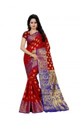 Nirja Creation Red Color Banarasi Cotton Fancy Saree (Code - NC-FR-805)