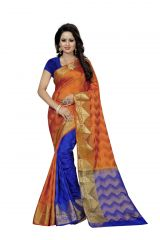 Nirja Creation Orange Color Banarasi Cotton Fancy Saree (Code - NC-FR-811)