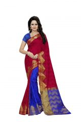 Nirja Creation Red Color Banarasi Cotton Fancy Saree (Code - NC-FR-814)