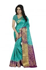 Nirja Creation Green Color Banarasi Cotton Fancy Saree (Code - NC-FR-818)