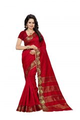 Nirja Creation Red Color Banarasi Cotton Fancy Saree (Code - NC-FR-888)
