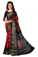 NIrja Creation Black and Red color Art silk Bandhani Saree NC-002F