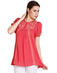 "Soie Embroidered Women""s Tunic(Product Code)_5476Pink_"