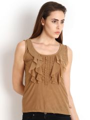 "Soie Casual Sleeveless Solid Women""s Top(Product Code)_5499Beige_"