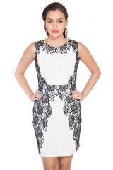Soie Polyester Blend Pencil Dress, Lace Applique .(Product Code)_5581Off White_