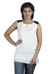 Soie Sleeveless  Top, Leather Shoulder Patch (Product Code)_5669Off White