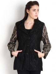 Blazers and jackets for women - Soie Lace Overcoat, Contrast Sleeves(Product Code)_5711Black_