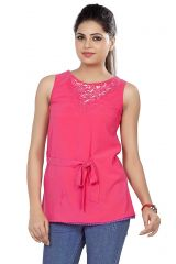 Soie Sleeveless  Top, Embroidery At Neck & Lace Detailing At The Hem(Product Code)_5750D.Pink