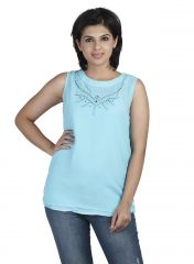 Soie Sleeveless Crepe Top, Cut-Out & Embroidery At The Neck(Product Code)_5757(I)Sky Blue_