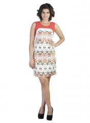 Soie Featuring Rayon Printed Short Dress, Lace Fabric Attached Along(Product Code)_5849Print_