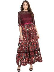 Soie Women's Printed Long Dress With Lacy Sleeves (Code - 7095_B_MAROONPRINT)