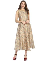 Soie Women's Printed Long Dress With Fancy Back (Code - 7096GOLDEN)