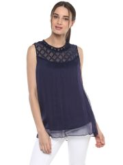 Soie Women's Navy Blue Criss Cross Yoke Top ( Code - 7130N.BLUE )