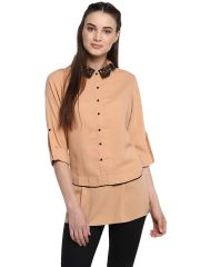 Soie Women's Peach Lace Collar Double Layer Top ( Code - 7143APRICOT )