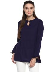 Soie Women's Blue Tie Up Cuff Top ( Code - 7146INK BLUE )