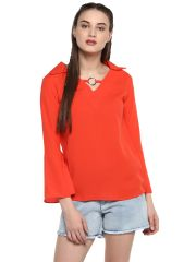 Soie Women's Red Tie Cuff Casual Top ( Code - 7184T.RED )